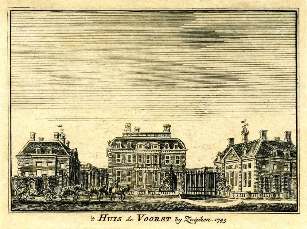 Huis De Voorst in Warnsveld. Tekening Jan de Beijer, gravure Hendrik Spilman (Uit: Het Verheerlykt Nederland, Isaac Tirion, 1745/1774)